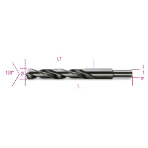 Punte elicoidali cilindriche serie corta in acciaio HSS rettificate brunite con codolo ridotto di 13 mm