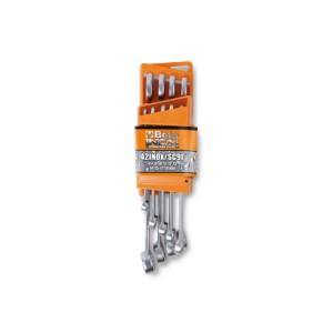 serie di 9 chiavi combinate in acciaio inossidabile con supporto compatto