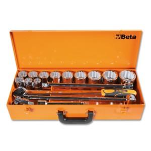 Assortimento di 12 chiavi a bussola poligonali e 5 accessori  in cassetta di lamiera