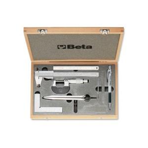 Assortimento di 7 strumenti  per misurare e tracciare in astuccio di legno