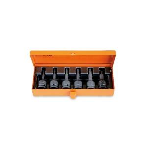 """Serie di chiavi a bussola maschio per viti con impronta Torx®, con attacco quadro femmina 1/2""""                 fosfatate in cassetta di lamiera"""