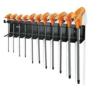 Serie di chiavi maschio piegate  con impugnatura per viti con impronta Torx® cromate, con supporto