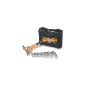 Curvadora de tubos com 7 matrizes, para tubos finos de cobre e liga leve em estojo de plástico