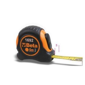 Fitas métricas, anti-choque, caixa em ABS,  fita em aço esmaltado, classe de precisão II