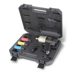 Jogo de 1 chave de impacto pneumática reversível e 3 chaves de caixa de impacto