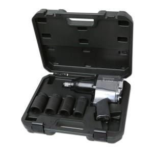 Jogo de uma chave de impacto pneumática reversível e quatro chaves de impacto, série longa