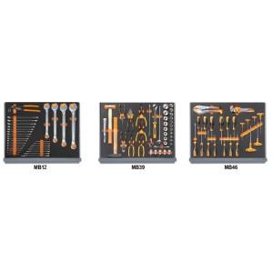 Jogo de 98 ferramentas para caixa de ferramentas C35, em tabuleiros maleáveis