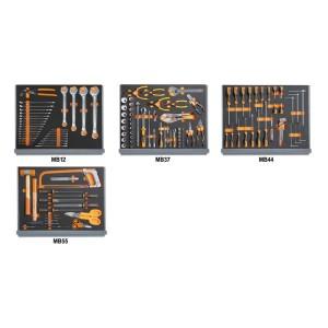 Jogo de 133 ferramentas para caixa de ferramentas C35, em tabuleiros maleáveis