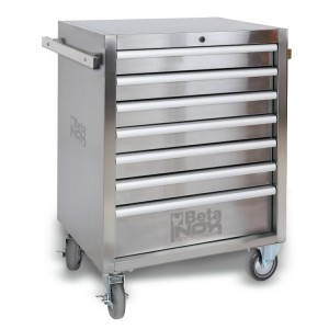 Mobile roller cab with seven drawers, made entirely of stainless steel