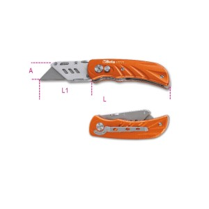 Foldaway knife with trapezoidal stainless steel blade,  5 spare blades