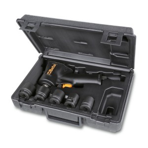 Assortment of one compact reversible impact wrench and five impact sockets, in plastic case