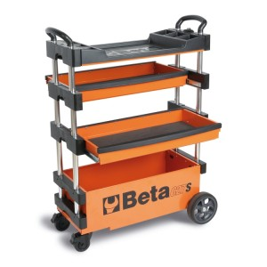 Folding tool trolley for outdoor jobs