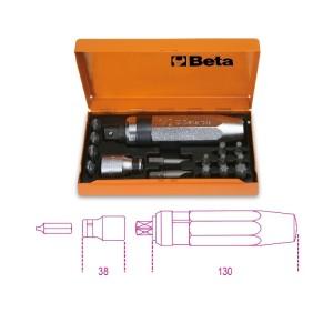 Destornillador de golpe  con 14 puntas y 1 vaso portapuntas