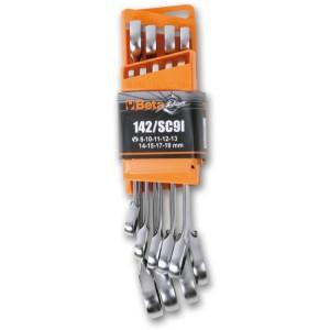 Juego de 9 llaves combinadas con carraca reversible con soporte compacto