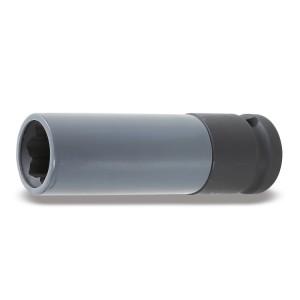 Llave de vaso de impacto  con elemento polimérico para tornillo de rueda con perfil Mercedes
