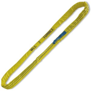 Ronde stropen, geel 3 ton. Groot trekbelastbaar polyester (PES) band