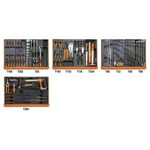 Assortiment van 104 gereedschappen in zachte inlegbakken