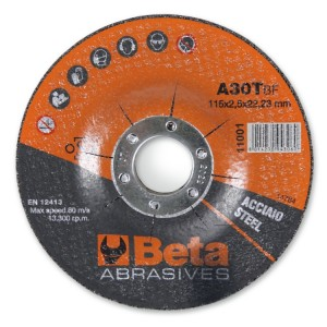 Dischi abrasivi da taglio per acciaio Esecuzione a centro depresso  Dischi da utilizzare con smerigliatrici portatili angolari