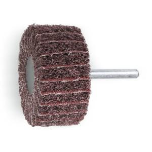 Ruote miste lamelle/tessuto non tessuto con gambo Lamelle in tela abrasiva alternata a tessuto in fibre sintetiche al corindone