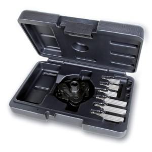 Chiave autoregolabile a tre bracci per filtri olio destrorsa-sinistrorsa, con bracci intercambiabili