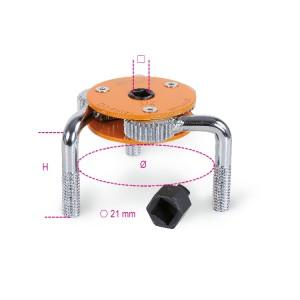 Chiave autoregolabile a tre bracci per filtri olio destrorsa-sinistrorsa