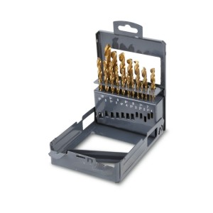 Serie di punte rettificate rivestite al TiN  in cassetta metallica