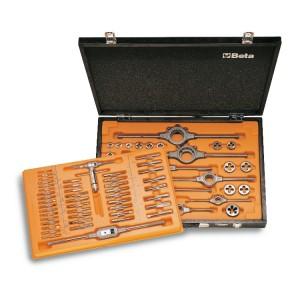 Assortimento di maschi  e filiere con accessori  in acciaio HSS filettatura metrica in cassetta di legno