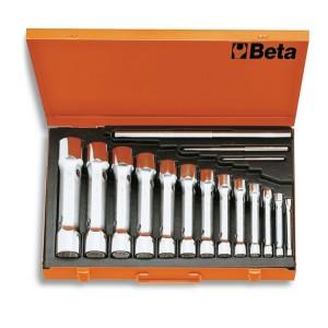 Serie di chiavi a tubo doppie poligonali serie pesante in cassetta di lamiera