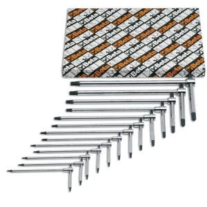 Serie di chiavi a T con tre estremità maschio  per viti con impronta Torx® cromate
