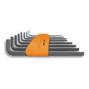 Serie di chiavi maschio esagonale piegate tipo lungo,  brunite, con supporto in plastica