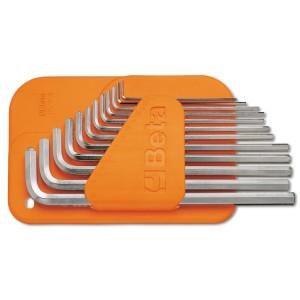 Serie di chiavi maschio esagonale piegate  tipo lungo,  cromate, con supporto in plastica