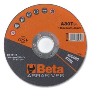 Dischi abrasivi da taglio per acciaio Esecuzione a centro piano  Dischi da utilizzare con smerigliatrici portatili angolari