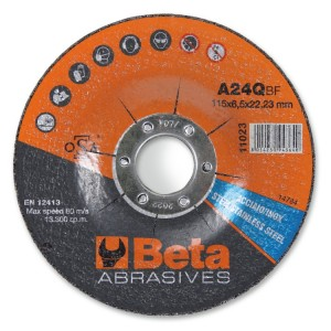 Dischi abrasivi da sbavo per acciaio e inox Esecuzione a centro depresso  Dischi da utilizzare con smerigliatrici portatili angolari