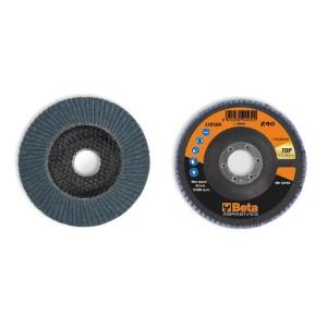 Dischi lamellari con tela abrasiva allo zirconio Supporto in fibra di vetro e lamella singola