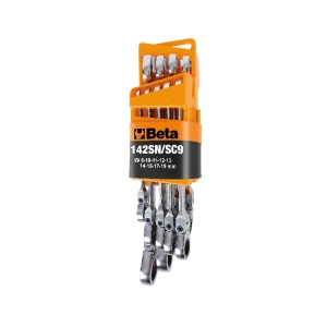 Serie di 9 chiavi combinate a cricchetto snodate con supporto compatto