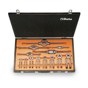 Assortimento di maschi  e filiere con accessori  in acciaio al cromo  filettatura UNF in cassetta di legno