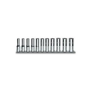 """Serie di chiavi a bussola  con attacco quadro  femmina 1/2"""",  tipo lungo  bocca poligonali, cromate"""
