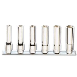 """Serie di chiavi a bussola  per viti con profilo Torx® con attacco quadro1/2"""" tipo lungo, cromate"""