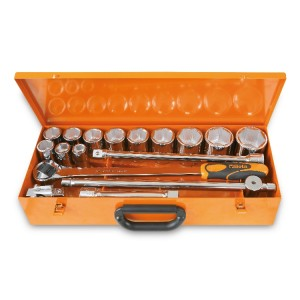 Assortimento di 12 chiavi a bussola esagonali e 5 accessori  in cassetta di lamiera