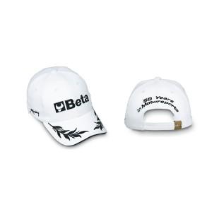 Cappellino, 100% cotone, taglia unica  regolabile, ricamo diretto sul frontale,  sui lati e sul retro, bianco