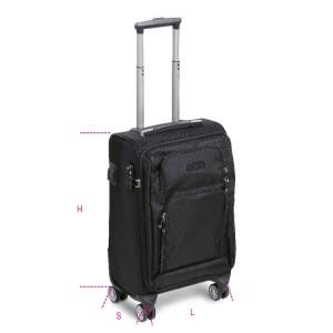 Trolley dimensioni formato cabina con 4 ruote doppie, lucchetto TSA, porta USB + jack 3,5 mm