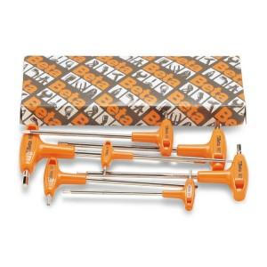 Serie di chiavi maschio esagonale piegate con impugnatura di manovra cromate