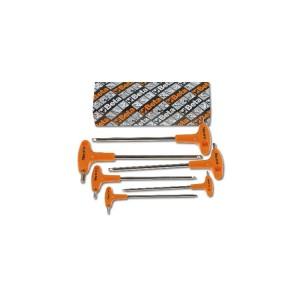 Serie di chiavi maschio esagonale piegate con estremità sferica ed impugnatura di manovra cromate