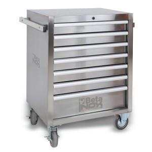 cassettiera mobile con sette cassetti completamente in acciaio inossidabile