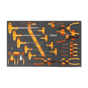 Modulo morbido con assortimento chiavi esagonali, pinze per anelli ed elettrotecnica