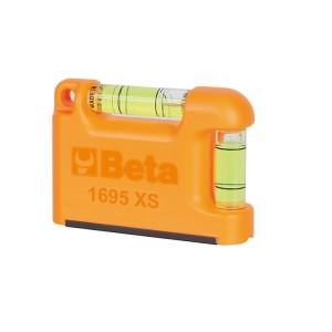 Poziomnica kieszonkowa z 2 nietłukącymi libelkami, pryzmowa, profil aluminiowy, podstawa magnetyczna, dokładność: 1mm/m