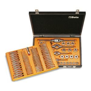 Zestaw gwintowników modele 430, 433 i narzynek modele 440, 440A, 441, 441A ze stali chromowej, z akcesoriami w pudełku drewnianym