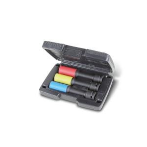 Komplet 3 nasadek udarowych z nakładką polimerową do śrub kół samochodów, typ długi, rozmiar oznaczony kolorem, w pudełku z tworzywa sztucznego