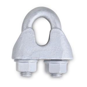 Zaciski linowe kabłąkowe, z żeliwa ciągliwego, szczęka ocynkowana, Śruba U-kształtna i nakrętki zabezpieczone powłoką GEOMET-GEOKOTE