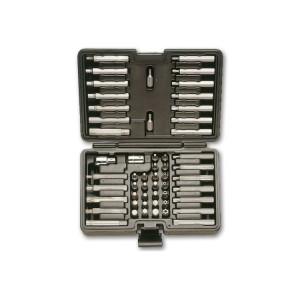Zestaw 52 końcówek wkrętakowych z uchwytem 10mm i z 2 akcesoriami, w pudełku z tworzywa sztucznego